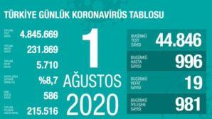 Türkiye'de Kovid-19'dan 215 bin 516 kişi iyileşti